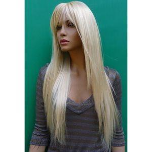 Long Silky Straight Bleach Blonde Wig